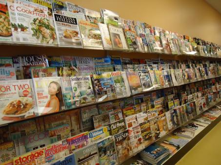 Free Stock Photo of Magazine racks