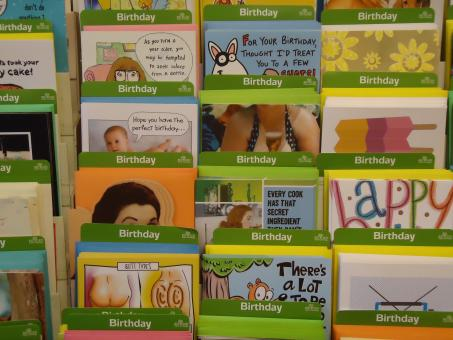 Free Stock Photo of Birthday cards rack