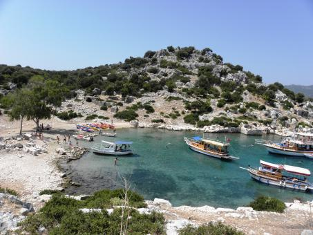 Free Stock Photo of Tourist boats in the small bay of Kekova