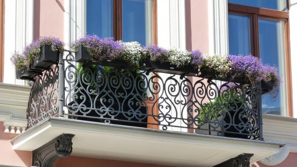Free Stock Photo of Balcony with flowers