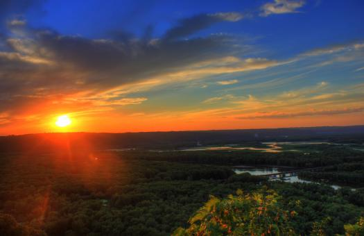Free Stock Photo of Sunset over the River Valley