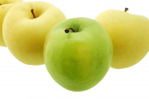 Free Stock Photo of Yellow and green apples