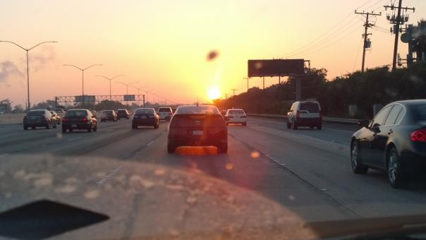 Free Stock Photo of Sunset on the Freeway