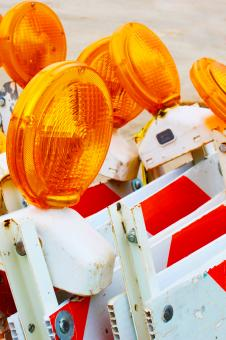 Free Stock Photo of Road work flashers