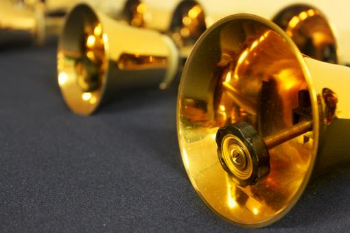 Free Stock Photo of Golden bells at a church