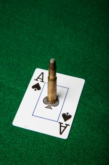 Free Stock Photo of Ace of spade with bullet