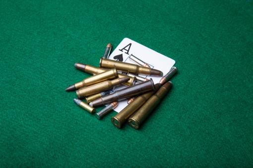 Free Stock Photo of Bullets with ace of spades