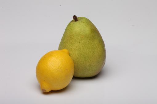 Free Stock Photo of Pear and Lemon isolated on white.