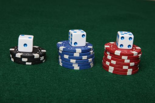 Free Stock Photo of Poker chips and dice.