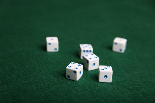 Free Stock Photo of Dice on green felt table