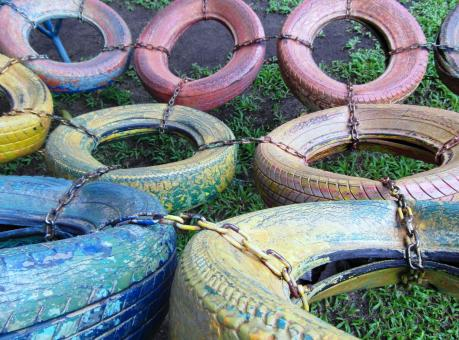 Free Stock Photo of Old Tyres Climbing Frame
