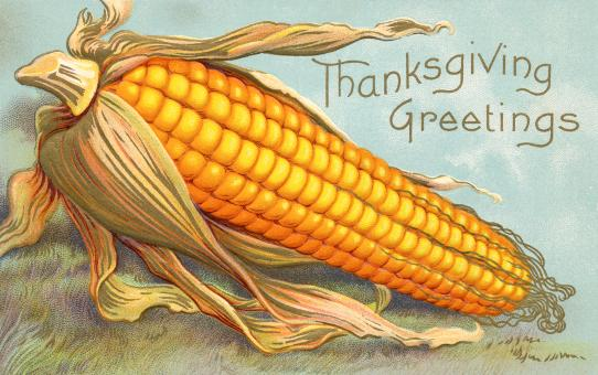 Free Stock Photo of Antique Thanksgiving Greeting Card