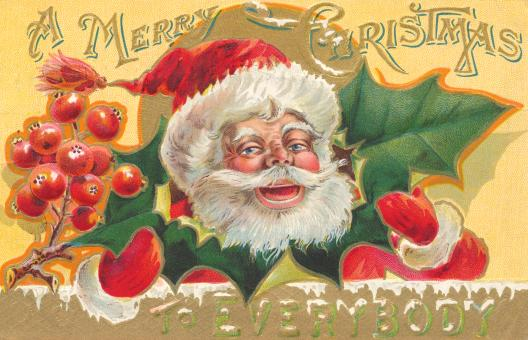 Free Stock Photo of Antique Christmas Card