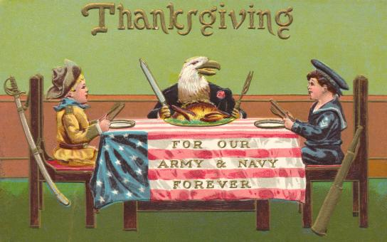Free Stock Photo of Antique Patriotic Thanksgiving Card