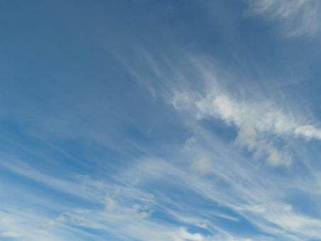 Free Stock Photo of Blue Sky Wispy Clouds Background