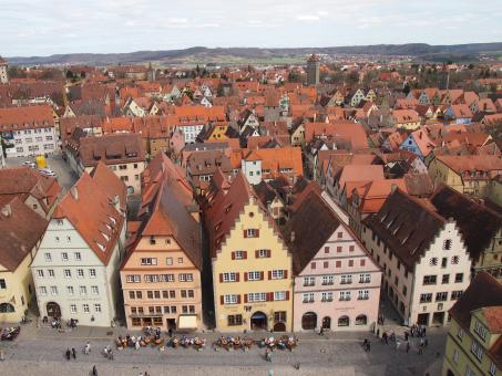 Free Stock Photo of View from Rathaus, Rothenburg