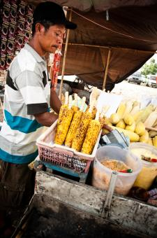Free Stock Photo of street vendor selling corn on the street