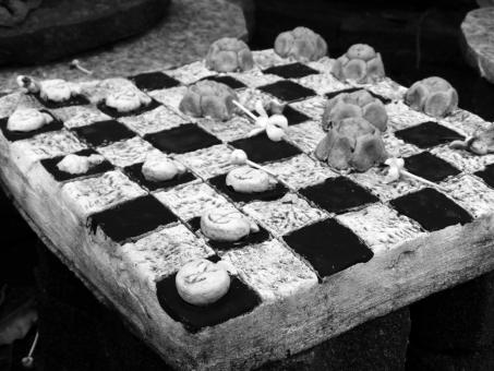 Free Stock Photo of Checkers Game Black and White