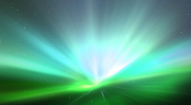 Free Stock Photo of Green Aurora Light Burst
