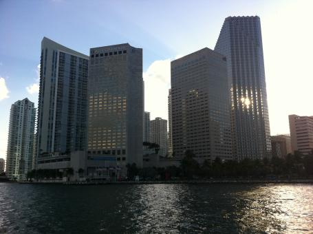 Free Stock Photo of Miami Skyline from boat