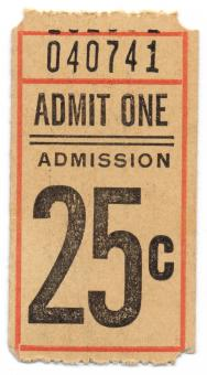 Free Stock Photo of Vintage Admission Ticket - Front Side