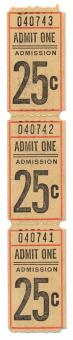 Free Stock Photo of Vintage Admit One Ticket x3