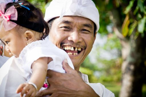Free Stock Photo of Asian child with father