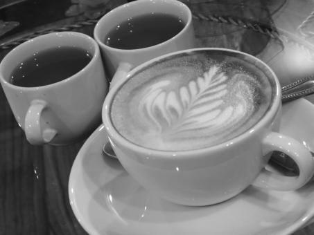 Free Stock Photo of Coffee with Jasmine Tea b&w