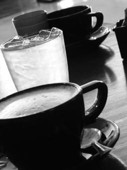 Free Stock Photo of Black Coffee Cups b&w image