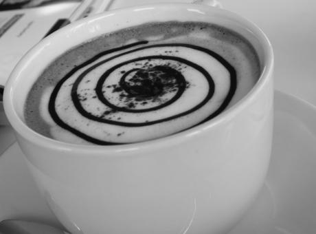 Free Stock Photo of Coffee Spiral Art Black and White