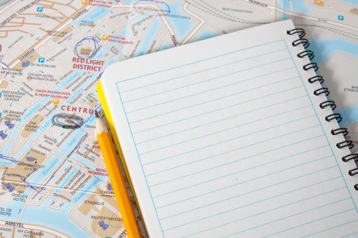 Free Stock Photo of Travel map with book