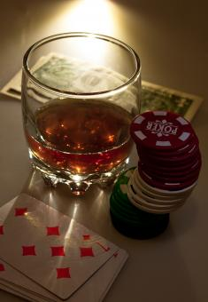 Free Stock Photo of Drink and playing cards