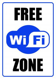 Free Stock Photo of FREE WiFi Zone - Sign