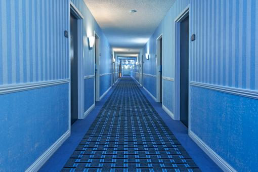 Free Stock Photo of Illuminated Corridor - Cool Blue HDR
