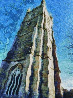 Free Stock Photo of Church Tower Painting