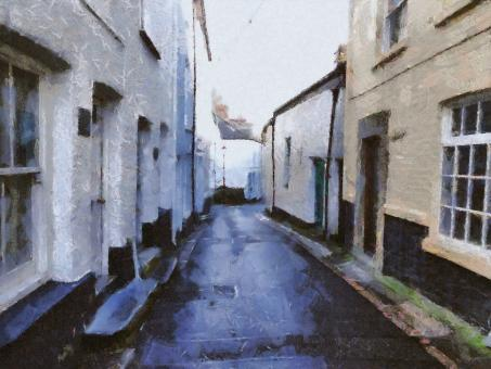 Free Stock Photo of Historic Village Painting