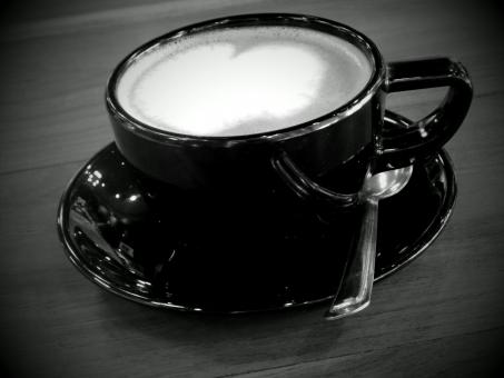 Free Stock Photo of Coffee Heart Black and White
