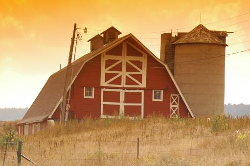 Free Stock Photo of Old Red Barn and Silo