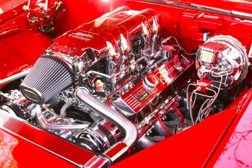 Free Stock Photo of Classic Hot Rod Car Engine