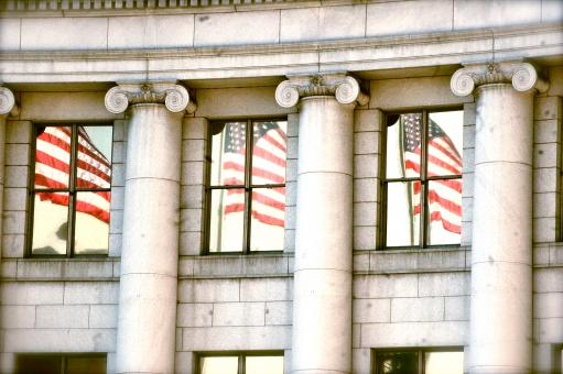 Free Stock Photo of American Flag Reflection in Civic Center