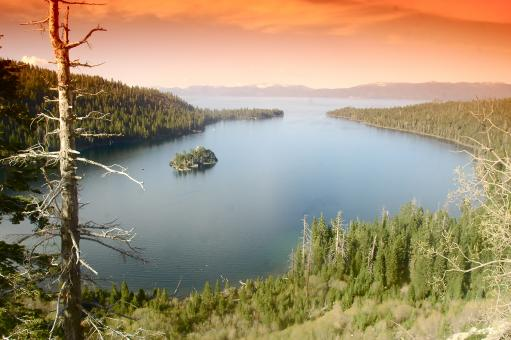 Free Stock Photo of Emerald Bay at Sunset Lake Tahoe