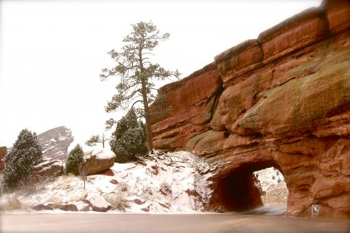 Free Stock Photo of Tunnel through the Snowy Red Rocks