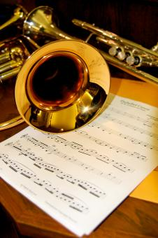 Free Stock Photo of Trumpet and Music Sheet