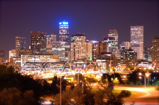 Free Stock Photo of Denver Skyline at Night (Historical)