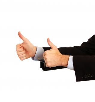 Free Stock Photo of A young businessman making a thumbs up g