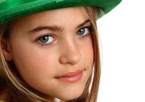 Free Stock Photo of Young girl dressed for Saint Patrick's D