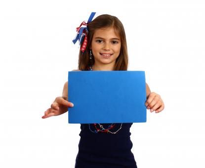 Free Stock Photo of Young girl holding a blank blue sign