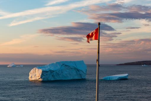 Free Stock Photo of Iceberg and Canadian Flag