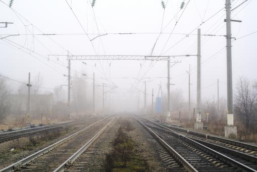 Free Stock Photo of Rails into the mist