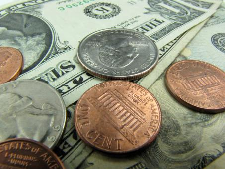 Free Stock Photo of Close-up of US dollars and coins
